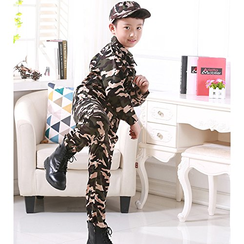 Militare Tops Ragazza Addestramento Cintura Abbigliamento Da Ragazzo  Pantaloni Stile Bozevon Costume Cappello 4 Campeggio Bambino Camuffamento  vpqwgSA18x 56a90cc6cf8b