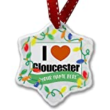 Personalized Name Christmas Ornament, I Love Gloucester South West England, England NEONBLOND