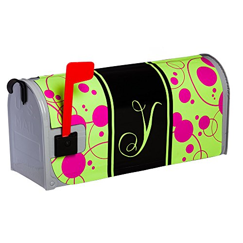 Line Standard Sized Monogram - Evergreen Peppy Pink Monogram Glow in the Dark Mailbox Cover, Y