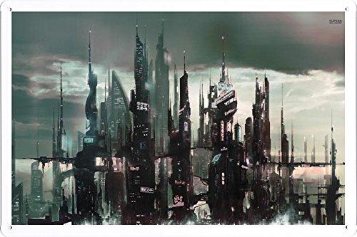 Abstract Sign - Cyberpunk Asian City 30019 Metal Tin Poster