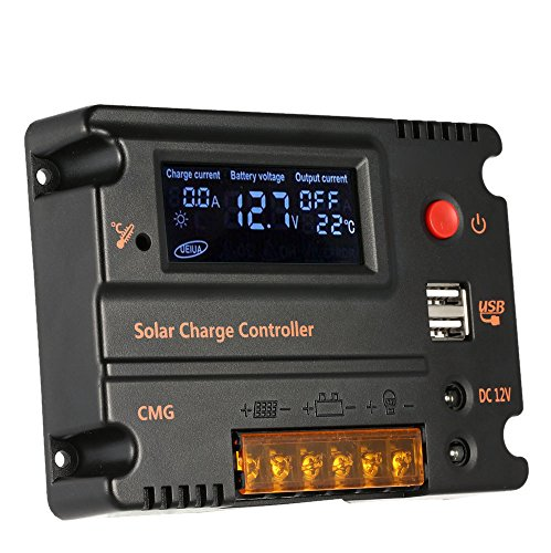Anself 20A 12V/24V LCD Solar Charge Controller Panel Battery Auto Regulator Switch Overload Protection
