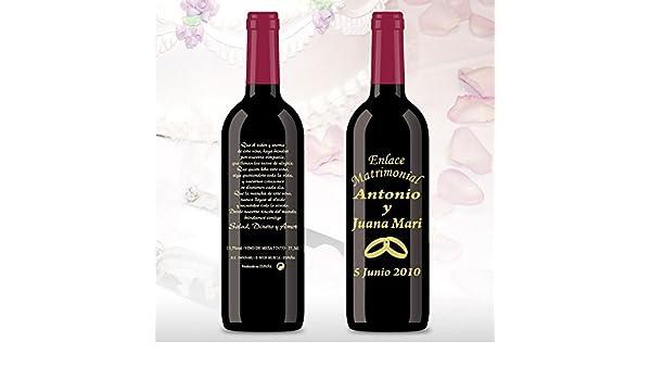 50 Botellas de vino Tinto (3/8) decorada directamente sobre vidrio con dibujo de un par de alianza dorados para detalles de boda, personalizado con los ...