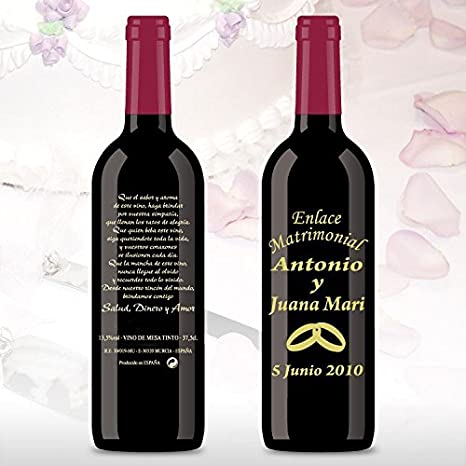 Botellas de vino decoradas para boda