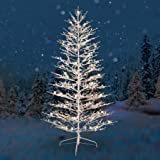 Dual-Color LED Lights, GE Pre-Lit 7 White Winterberry Artificial Christmas Tree