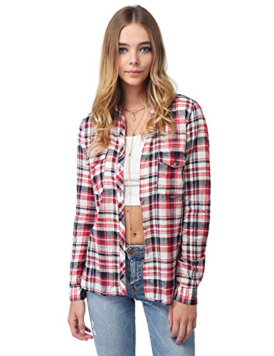 Awesome21 Long Sleeve Lightweight Plaid Button Down Shirt Red Size L (Plaid L/s Red Shirt)
