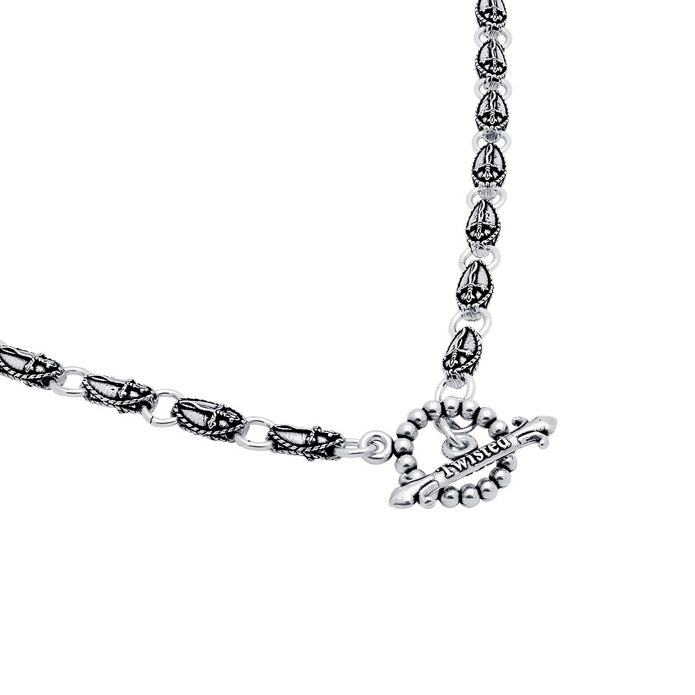 Twisted Blade 925 Sterling Silver Small Oval Dagger Link Necklace 22''