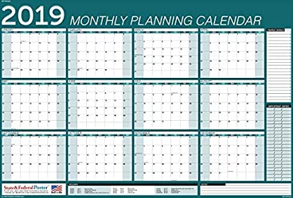 graphic regarding Monthly Planning Calendar named : 2019 Horizontal Regular monthly Coming up with Calendar