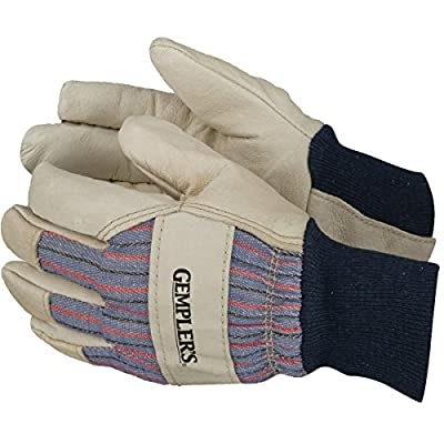 Gempler'S Insulated Pigskin Leather Palm Work Gloves With Knit Cuff, Gunn Cut And Striped Canvas Back, 1 Pair