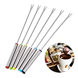18Pcs Long-Handled Stainless Steel Fondue Forks for Cheese Chocolate Fondue Roast Marshmallows Meat,9.5 Inch