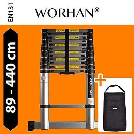 WORHAN/® 4.4m TELESKOPLEITER ALULEITER ANLEGELEITER ALULEITER ALU TELESKOP LEITER MULTIFUNKTIONS LEITER 440cm 1K4.4+bag