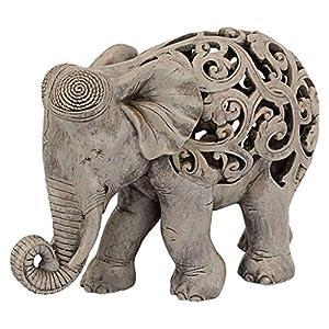 Design Toscano Anjan The Elephant Indian Decor Jali Animal Statue, 30.5 cm, Polyresin, Brown Stone
