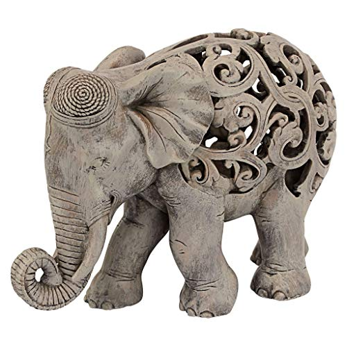 (Design Toscano Anjan the Elephant Indian Decor Jali Animal Statue, 12 Inch, Polyresin, Brown Stone)