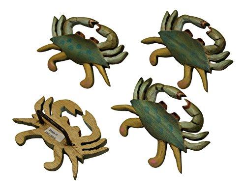 Time Warner Blue Crab Carved Wood Napkin Rings Set of 4 K...