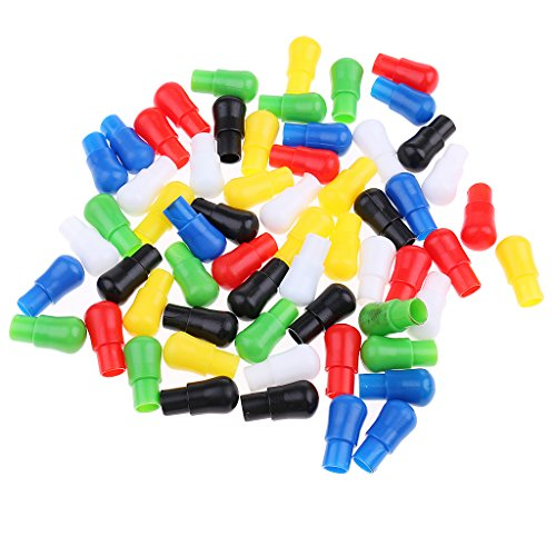 (SM SunniMix 60pcs Chinese Checkers Pieces Only, 0.9 inch Plastic Chess Pegs Replacement - Multicolor)