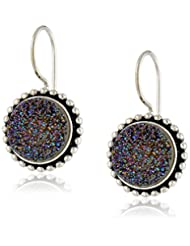Sajen Sterling Silver 10X10 Flat Caribbean Drusy Quartz Drop Earrings
