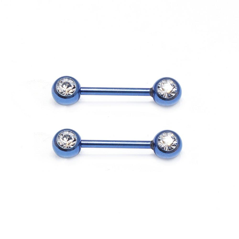 14ga Double CZ Titanium Anodized 316L Stainless Steel Nipple Bar