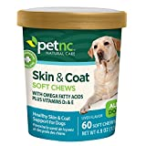 PetNC Natural Care Skin and Coat Soft Chews for Dogs, 60 Count