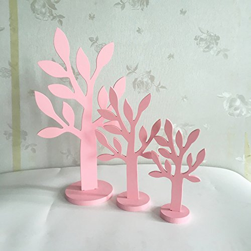3pcs/set Simulation Wood Tree Small/Mid/Tall Font Pink Wood Home Decor Gift Crafts by floor88 (Image #3)