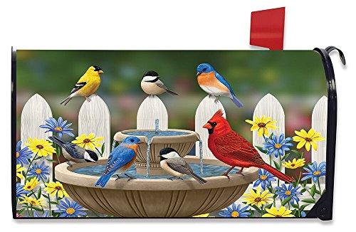 Briarwood Lane Birdbath Gathering Spring Magnetic Mailbox Cover Floral Birds Standard by Briarwood Lane