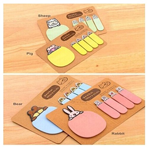Stationery Memo Pad (Kemilove 1PC Cute Animal Kraft Paper Mini Sticky 4 Styles Notes Memo Pad Gift Stationery)