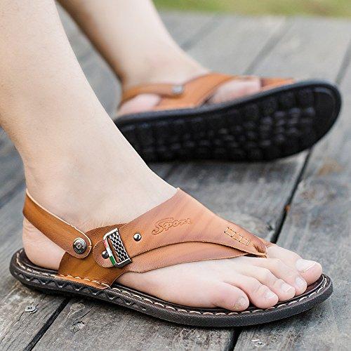 ZHNAGJIA Sommer Sandalen, Die Zehen Männer, Outdoor Beach Schuhe, Sandalen, Hausschuhe, Sandalen, Schuhe Für Herren, 44, Gelblich Braun 6203