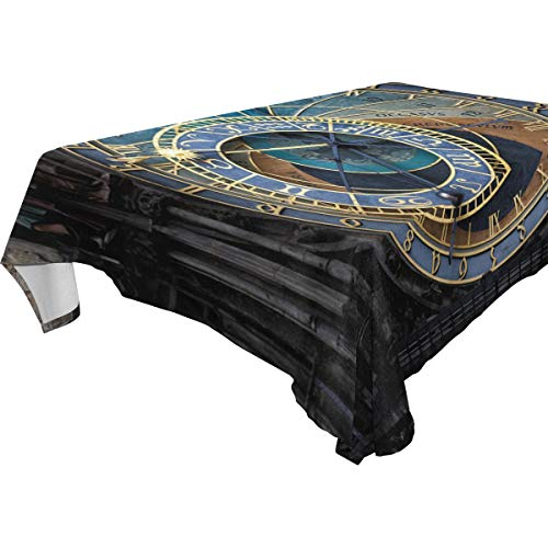 LORVIES Rectangle Prague Astronomical Clock Tablecloth for Wedding Party Holidays Washable Polyester Table Cloth Cover, 60 x 120 Inch -
