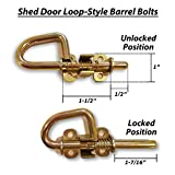 Loop Style Spring Barrel Bolts - 1 Pair - Includes 8 Screws and Square Bit - Shed Door Hardware, Shed Door Barrel Bolts, Barn Door Barrel Bolts for Sheds, Gates, Playhouses, Chicken Coops