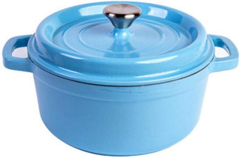 YLCJ Utensilios de Cocina de Hierro Fundido para Horno holandés con Revestimiento de Esmalte en la Tapa-Blue_Capacity 3.8L