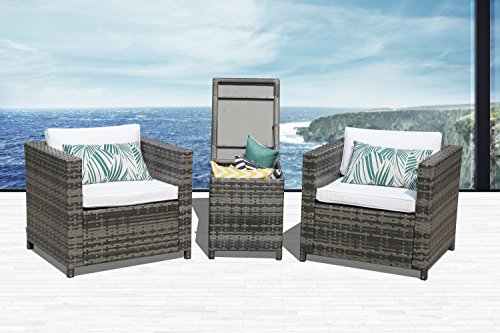 Super Patio 3 Piece Patio Bistro Set,3 Piece All-Weather Grey Wicker Furniture Sectional Sofa Set Storage Coffee Table,White Cushions