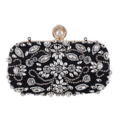 De Bolsas Del Bolsa Nuevas De Negro A Mujeres Diamantes Del Vestidos Mano Hechos Embrague Noche De Monedero CwqX76Fwx