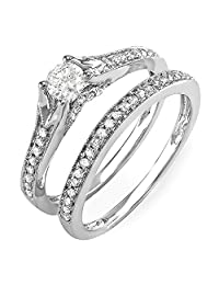 0.60 Carat (ctw) 14k White Gold Round Diamond Ladies Bridal Split Shank Ring Engagement Matching Band Set