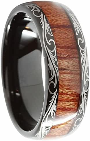 Queenwish 8mm Tungsten Carbide Ring Koa Wood Inlay Dome Edge Comfort Fit Infinity Band Size 6-14
