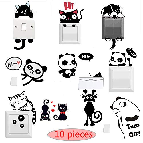 Satisfounder 10 Pcs Animals Removable Creative Switch Stickers Cute Cat Light Switch Decor Decals Viny Bedroom Wall Laptop Stickers Art Mural Baby Nursery Room Decorations,Black ()