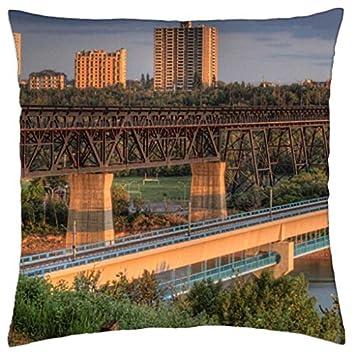 set of bridges in edmonton canada hdr Throw Pillow Cover Case