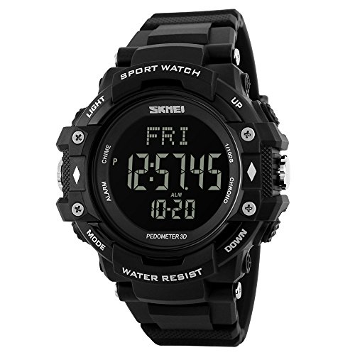 SKMEI Men Digital Sports Watches with Heart Rate Monitor, Pedometer Calorie Military Waterproof Wristwatch for Men Boys - Black