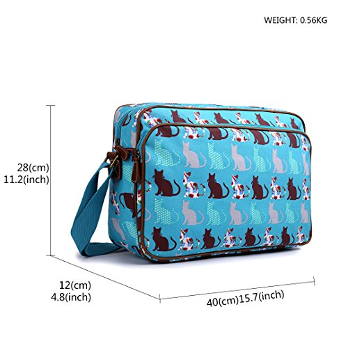 Oilcloth A4 Body Teal Cross Cat Messenger Shoulder Unisex School Miss Satchel Universe Lulu Bag Dog Large Xcqw0C