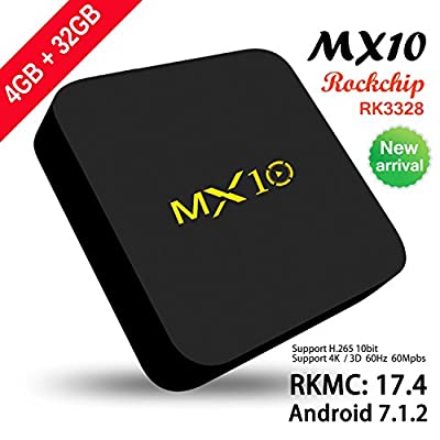 2017 Model SCS ETC Streaming Media Player, MX10 Android 7.1 TV Box 4GB + 32GB, Smart TV Box Support 2.4G Wifi Connected 64bit Quad-Core 3D 4K HDR Video Playing Smart TV Box