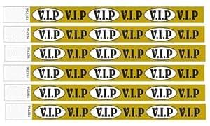 1000 VIP Impresa Pulseras De Tyvek (Dorado) 3/4 inch