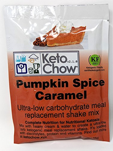 Keto Chow Keto Meal Replacement Shake: delicious, easy meals for keto diet, complete keto meal, on the run keto meal (Pumpkin Spice Caramel, Single Meal Sample)