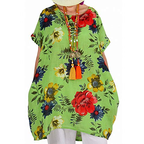 Tantisy ♣↭♣ Women's Retro Short Sleeve Boat-Neck Floral Print A Line Flare Swing Midi Party Dress/Plus Size S-XXXXXL Green