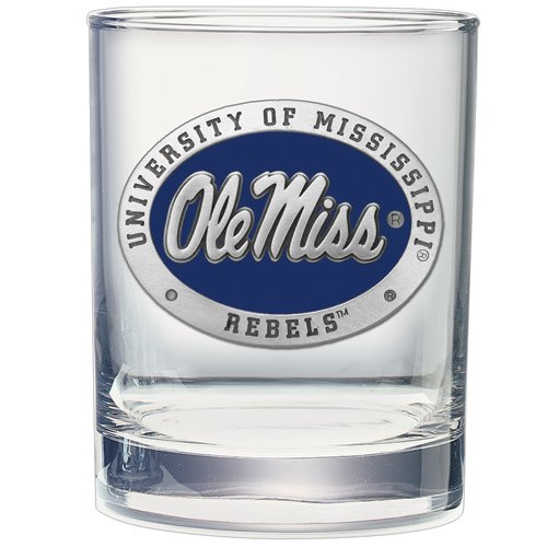 2pc, Pewter University of Mississippi Double Old Fashioned Glass (Wind Chimes Mississippi)
