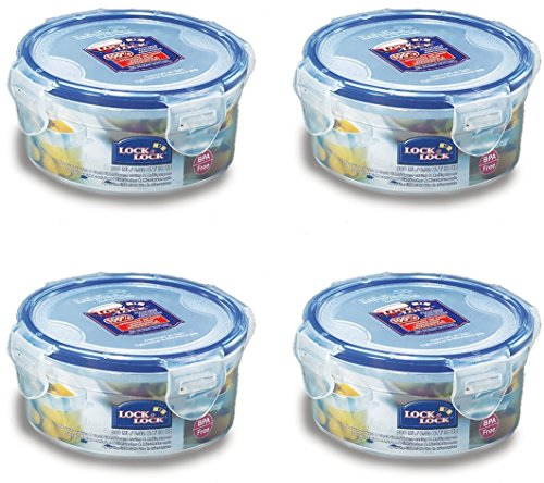 (Pack of 4) LOCK & LOCK Airtight Round Food Storage Container, Snack box 10.14-oz / 1.27-cup