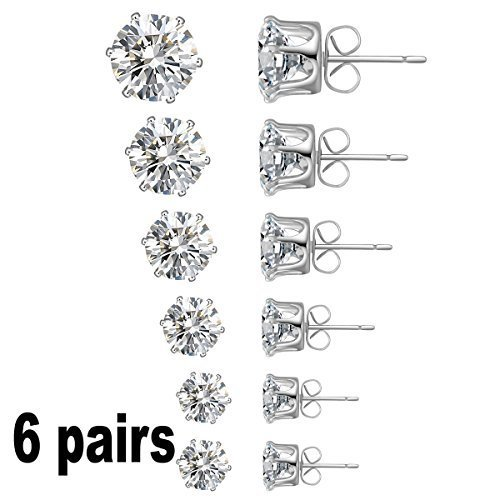 Jewelry Women's Stainless Steel Round Clear Cubic Zirconia Diamond Rhinestone Stud Earring (6 Pairs) Color Silver EAC-01