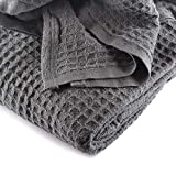 JMR Cozy Waffle Weave Blanket | Cotton Medium Weight Hotel Throw Blankets Great for All Seasons | Upgrade Your Home Decor with Hypoallergenic Soft Quilt for Bed, Couch & Sofa (Charcoal, Twin 66 x 90)