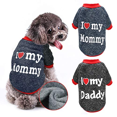 Stock Show Dog Clothes Pet Autumn Winter Warm Lining Fleece Cute Sweet I Love My Mommy&Daddy Design Outfit Apparel for…