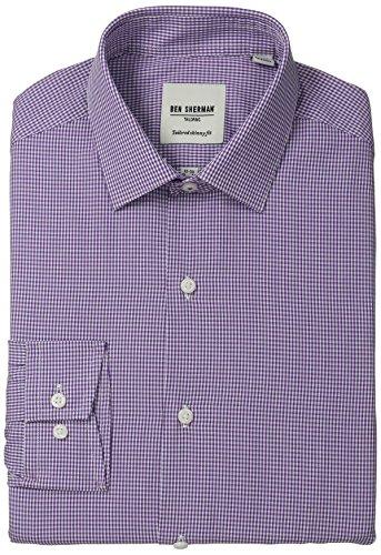 Ben Sherman Men's Skinny Fit Mini Gingham Dress Shirt, Purple, 16