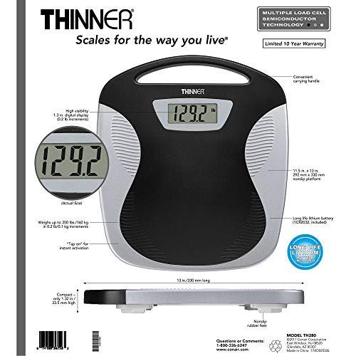 Conair Thinner TH280 Digital Precision LED Portable Bathroom Scale, Black/Silver by Conair (Image #3)