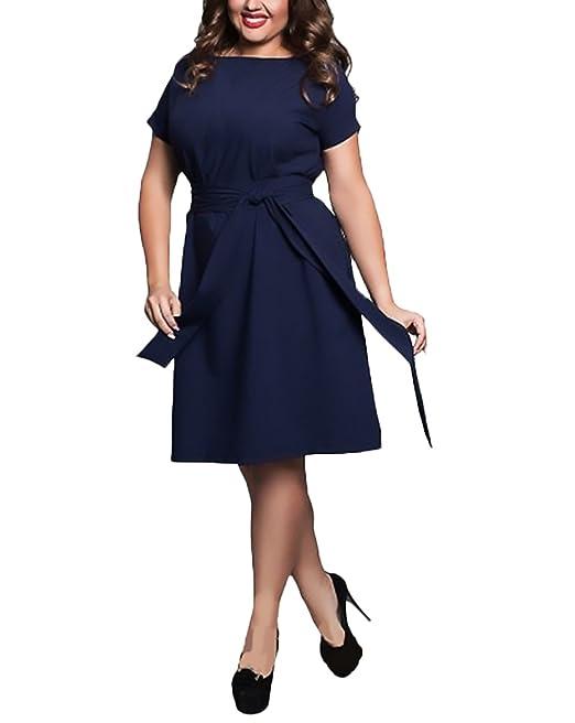 34e8c1618321 Vestiti Donna Estivi Moda Puro Colore Eleganti Abiti Da Cerimonia Manica  Corta Rotondo Collo Linea Ad
