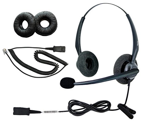 DailyHeadset RJ9 NC Duo Office Phone Corded Headset for Analog IP Office Landline Phone Aastra Avaya Nortel Polycom Mitel ShoreTel Digium AltiGen Packet 8 TalkSwitch Telephones
