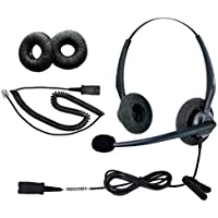 DailyHeadset RJ9 NC Duo Office Phone Corded Headset for Analog Business IP Office Landline Phone Aastra AltiGen Avaya Digium Mitel Nortel Networks Polycom ShoreTel Packet 8 TalkSwitch Telephones